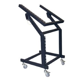 Pyle-Pro PDJSD1 22U Rolling Steel DJ Rack for 19-inch Rack Mount Equipment (Tilting Top Rack, 300lb Capacity)