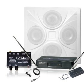 Wireless Conference Room Sound System 1 Ceiling Speaker, Mixer Amp, Audio Technica Wireless Lavalier Microphone and Receiver
