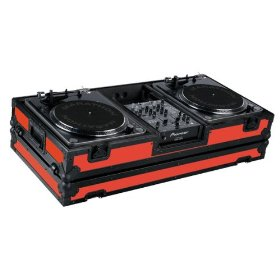 Marathon Flight Ready MA-DJ10Wblkred Battle Red Black Series Coffin Holds 2 Turntables with 10-Inch Mixer with Low Profile Wheels