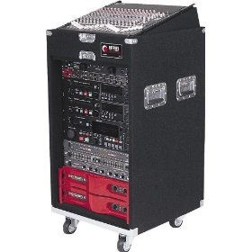 Odyssey CXP1116W Pro Combo Carpeted Rack With Recessed Hardware And Wheels: 11u Top, 16u Bottom