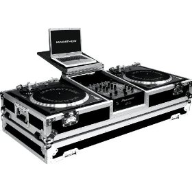 Marathon Flight Ready Case MA-DJ10Wlt Battle Coffin Holds 2 Turntables with 10-Inch Mixer with Low Profile Wheels & Shelf for 15-Inch Laptop