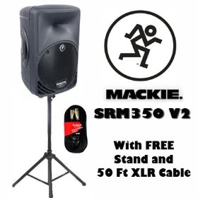 Mackie SRM350 V2 Active DJ Powered Speaker with FREE Stand and Cable SRM350V2SET1