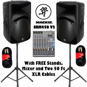 One Pair Mackie SRM450 V2 Active DJ Powered Speakers with FREE Mixer, Stands and Cables SRM450V2SET2
