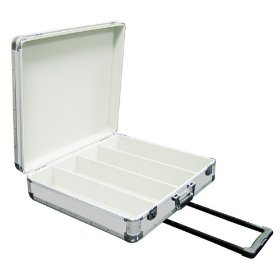 Marathon Elight Series MA-ECD4Hw Sil CD Case 4 Row Holds Up To 200 Jewel Cases & Up To 600 Plastic Sleeves with Handle & Wheels: Silver