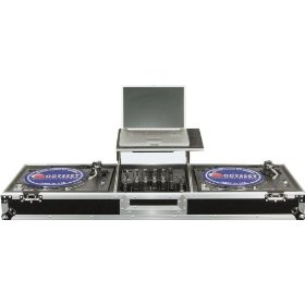 Odyssey FZGSDJ12W Flight Zone Glide Style Ata Dj Coffin With Wheels For A 12 Mixer & Two Turntables In Standard Position