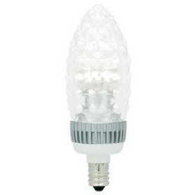 LED - 3 Watt - Dimmable Decorative Torpedo - Crystal Cut Straight Tip - Candelabra Base - 120 Volt - Halogen White - TCP LDCT3WH30KCC