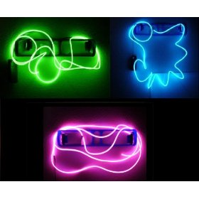 Neon Glowing Strobing Electroluminescent Wires (El Wire) - 3 Color Party Pack