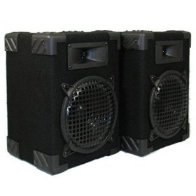 New Home PA DJ Karaoke Bookshelf Black Pro Audio Two Way Speaker Pair 800C