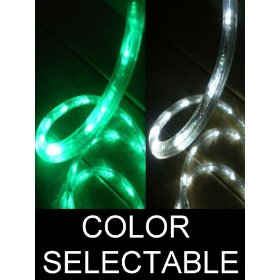 10Ft Color Selectable Rope Lights; emerald green and pure white LED Rope Light Kit; Christmas Lighting; outdoor rope lighting