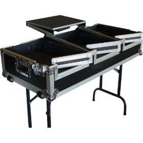 Eurolite DJ CD Coffin Case with Laptop Shelf and Folding Table Legs, 12 inch