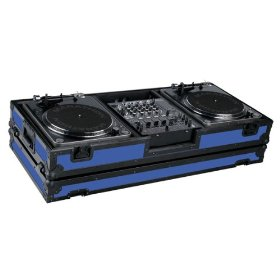 Marathon Flight Ready MA-DJ12Wblkblue Battle Black Series Coffin Holds 2 Turntables with 10-Inch Mixer with Low Profile Wheels (Blue)