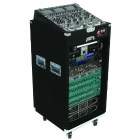 Odyssey CXP1118W Pro Combo Carpeted Rack With Recessed Hardware And Wheels: 11u Top, 18u Bottom