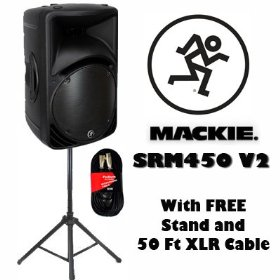 Mackie SRM450 V2 Active DJ Powered Speaker with FREE Stand and Cable SRM450V2SET1