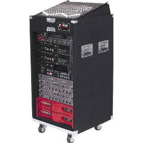 Odyssey CS4812W Carpeted Slide Style Combo Case With An 8u Slanted Rack And A 4u Top And 12u Bottom Vertical Rack With Wheels