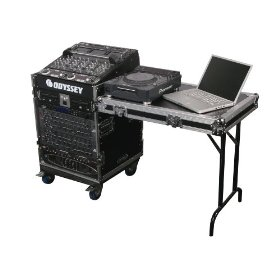 Odyssey FZ1112WDLX Flight Zone Ata Combo Rack With  Vertical Side Table: 11u Top Slant, 8u Vertical