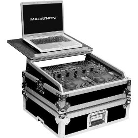 Marathon Flight Ready Case MA-19Mixlt Mixer Case Holds 10U 19-Inch Slanted Mixer with Laptop Shelf To Hold Up To a 17-Inch Laptop