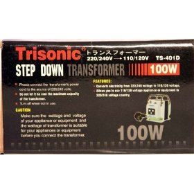 Brand New Trisonic Ts-401d 100 Watt Step Down Transformer - Converts 220 or 240 Volts Down to 110 or 120 Volts