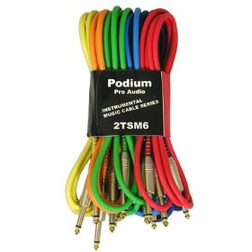 New Set of Six 6' Pro Audio Instrument Cables 1/4