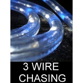 18Ft Rope Lights; 3wires neon blue and pure white chasing LED Rope Light Kit; Christmas Lighting; outdoor rope lighting