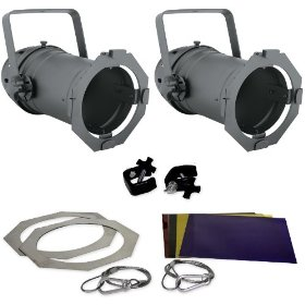 Brand New Chauvet Par Can Kit 56 (Polished Black Chrome Colored Housing) Package with (2) Par Cans, (2) Lamps, (2) Safety Cables, (2) Clamps, and (2) Gels