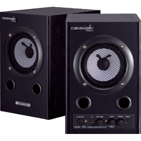 Cakewalk MA-7A Stereo Micro Monitor Pair, Natural/Blue