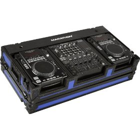 Marathon Flight Ready MA-CDi12Wblkblue Blue - Black Series - Coffin Holds 2X Medium Format CD Players + 12-Inch Mixer with Low Profile Wheels