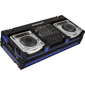 Marathon Flight Ready MA-DJCD12Wblkblue Blue - Black Series - Coffin Holds 2 X Large Format CD Players + 12-Inch Mixer with Low Profile Wheels
