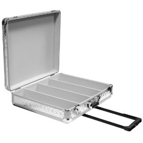 Marathon Elight Series MA-ECD4Hw Sil-Dia CD Case 4 Row Holds Up To 200 Jewel Cases & Up To 600 Plastic Sleeves with Handle & Wheels: Silver Diamond