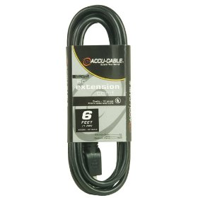 Accu Cable EC163-6 Black 16 Gauge 6 Ft Extension Cable