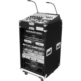 Marathon Flight Ready Case MA-Mc1016Wpro Holds 10U Slant Top, 16U Bottom, Recessed Mount Hardware with Casters