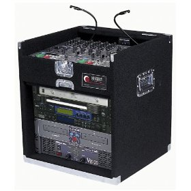 Odyssey CXG908 Carpeted Combo Rack With Recessed Hardware: 9u Top, 8u Bottom