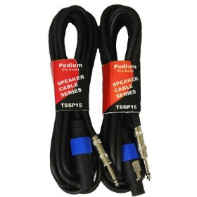New Set of Two 15' Pro Audio Speaker Cables Male Speakon Jack to Male 1/4