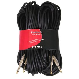 New Set of Two 50' Pro Audio Instrument Cables 1/4