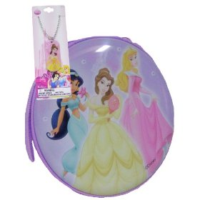 Disney Princess Tin Zippered Cd Case Purpple Free Charm Necklace