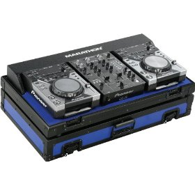 Marathon Flight Ready MA-CDJ10V2Blkblue Blue - Black Series - Coffin Holds 2X Small Format CD Players: Pioneer CDJ-400 + 10-Inch Mixer: Pioneer DJm400
