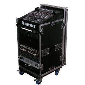 Odyssey FZ1116W Flight Zone Ata Combo Rack W/Wheels: 11u Top Slant, 16u Vertical