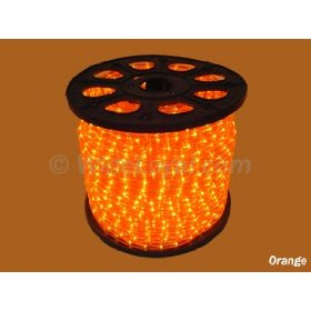 102 foot section of orange 3/8 inch rope light