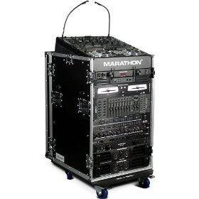 Marathon Flight Ready Case MA-11M16Uw 11U Slant Mixer Rack/16U Vertical Rack System with Caster Board