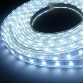 16.4 feet 300 SMD LED Flexible Strip with Waterproof Sleeve, 12 Volt White LED Ribbon 5 Meter Reel, 2047WH