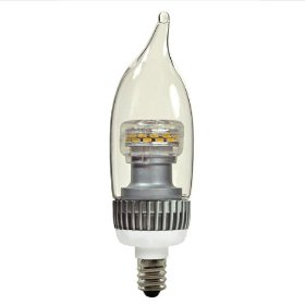 LED - 3 Watt - Dimmable Decorative Torpedo - Clear Bent Tip - Candelabra Base - 120 Volt - Halogen White - TCP LDCF3WH30K