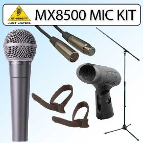 Behringer XM8500 Dynamic Cardioid Microphone wtih Microphone Boom Stand XLR Cable Microphone Clip and Cable Ties