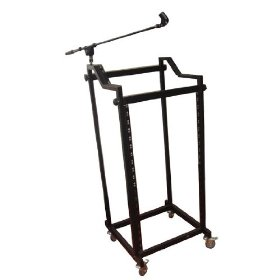 Pyle-Pro PDJSD4 28U Steel Rolling DJ Rack for 19-inch Rack Mount Equipment with Microphone Boom Stand