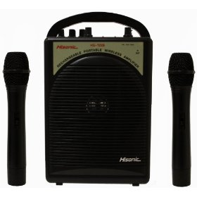 Hisonic HS122B-H2 40-Watt Rechargeable & Portable PA System with Built-in Dual Wireless Microphones, BLACK