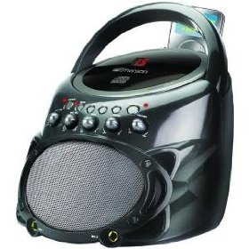 Emerson GP298G Portable CDG Karaoke System with Bass Ports and Microphone (Gray)