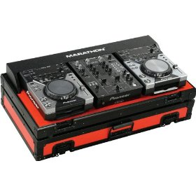 Marathon Flight Ready MA-CDJ10V2Blkred Red - Black Series - Coffin Holds 2X Small Format CD Players: Pioneer CDJ-400 + 10-Inch Mixer: Pioneer DJm400