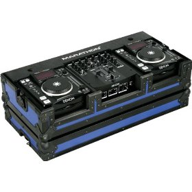 Marathon Flight Ready MA-Dnsx1200Blkblue Blue - Black Series - Coffin Holds 2X Small Format CD Players + 10-Inch Mixers