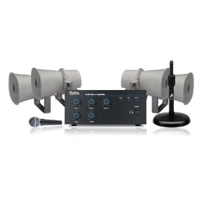 Public Address System, 3 Channel Mixer Amp, 10 Watt Paging Horn Loudspeaker, Shure Microphone