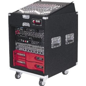 Odyssey CXP1110W Pro Combo Carpeted Rack With Recessed Hardware And Wheels: 11u Top, 10u Bottom