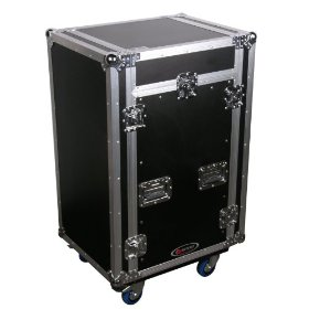 Odyssey FZ1116WDLX Flight Zone Ata Combo Rack With Wheels And Side Table: 11u Top Slant, 16u Vertical
