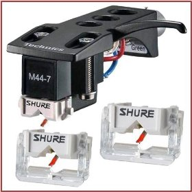 Shure M44-7H Scratch DJ Turntable Cartridge with Technics Headshell + 2 Shure N44-7 Stylus